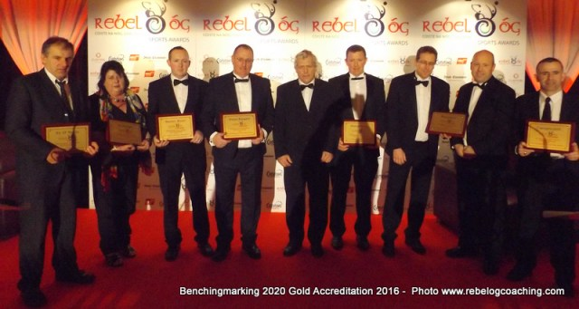 Benchmarking 2020 7 Award winners with Chairman of the Munster Council Jerry O'Sullivan for the Gold Accreditation 2016 Benchmarking 2020 Award
