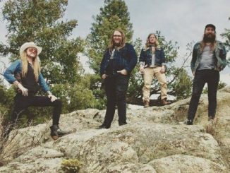 Bison Machine band standing on a rock