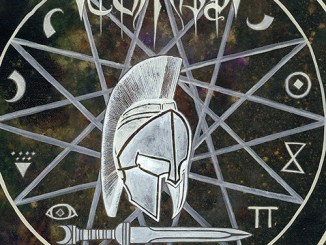 """Tombs' """"The Grand Annihilation Album cover - Spartan helmet in center of a star and a sword at the bottom"""