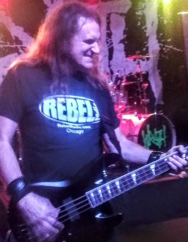 Megadeth's David Ellefson wearing an official Rebel Radio T-shirt on stage during his Basstory performance on October 4, 2018