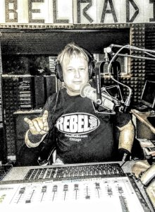 "Steve ""Megamo"" McCarthy at the Rebel Radio studio"