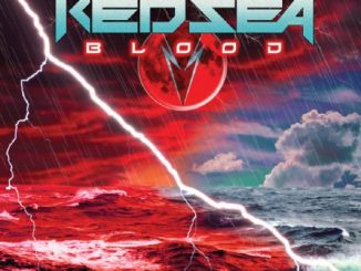 Red Sea album cover for Blood, featuring a picture of the Red Sea, in red on the left and blue on the right