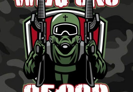 Weapons Of God - a riot soldier with a rifle in each hand and cross on his helmet