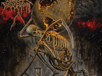 Cattle Decapitation - a skeleton holding a sickle and the burning world on his back