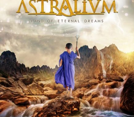 """astralium album cover for """"land of Eternal Dreams"""", featuring a boy monk with a purple robe, carrying a staff, walking on rocks by a stream"""