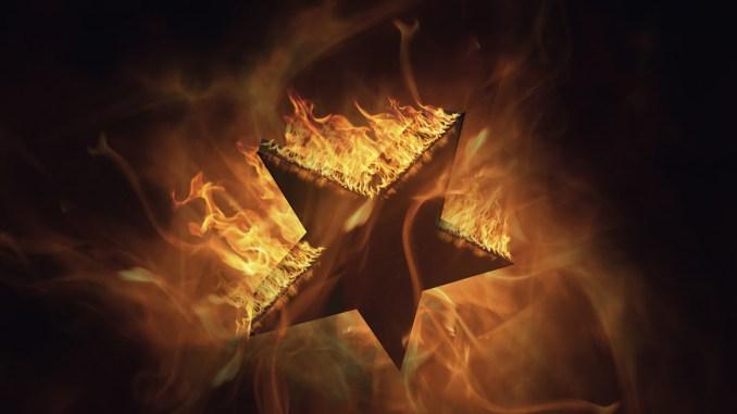 blackstar Republic album cover for Humanatti - flaming star