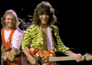 Eddie Van Halen with bassist Michael Anthony in a music video