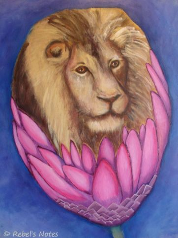 The very first painting I made - a lion's head in a protea, both symbols of my country of birth.