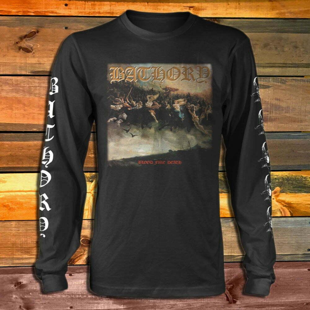 Тениска с дълъг ръкав Bathory Blood Fire Death