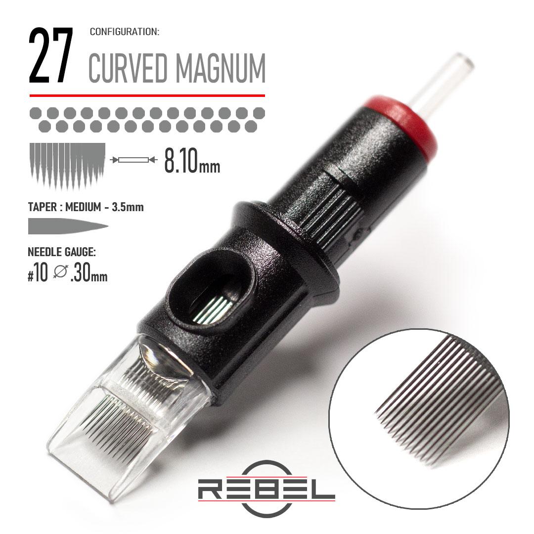 REBEL Tattoo Cartridge - 27 Curved Magnum Shader Needle