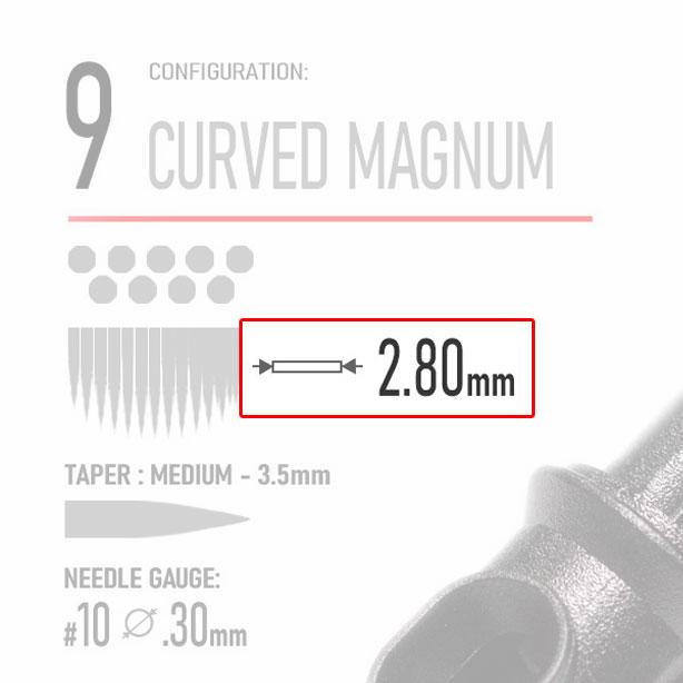 Working Width- 9 curved magnum tattoo cartridge - tattoo needle - REBEL