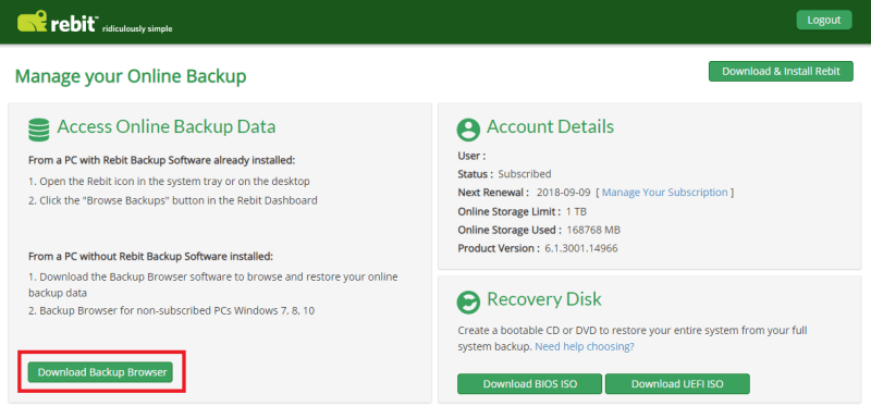 Download del browser di backup
