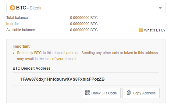 Deposit Bitcoin on Binance: send to QR Code on deposits page