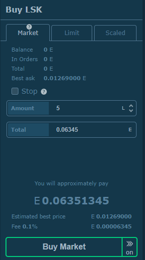 How to purchase Lisk on HitBTC: market order