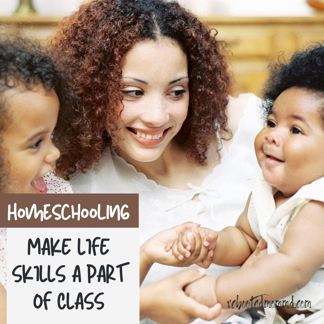 mother and children homeschooling