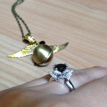 Golden Snitch & Black Diamond Lotus Ring