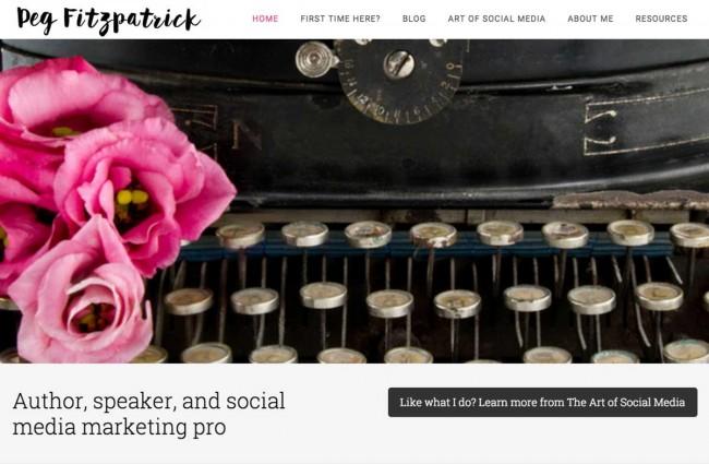 Peg Fitzpatrick homepage using custom photos for personal branding purposes