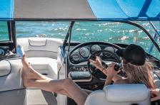 woman in speed boat