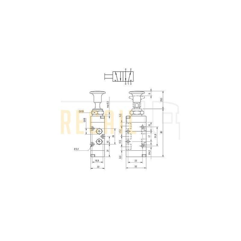 Válvula 5/2 vías elevación de eje manual AIGNEP