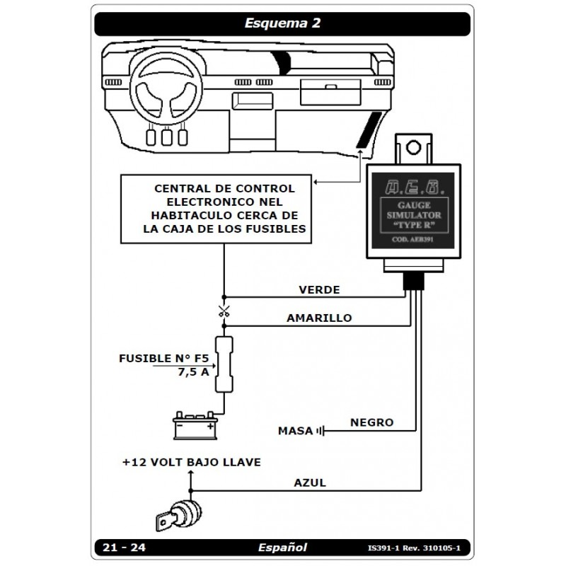 Emulador de Nivel gasolina AEB 391Para Renaults