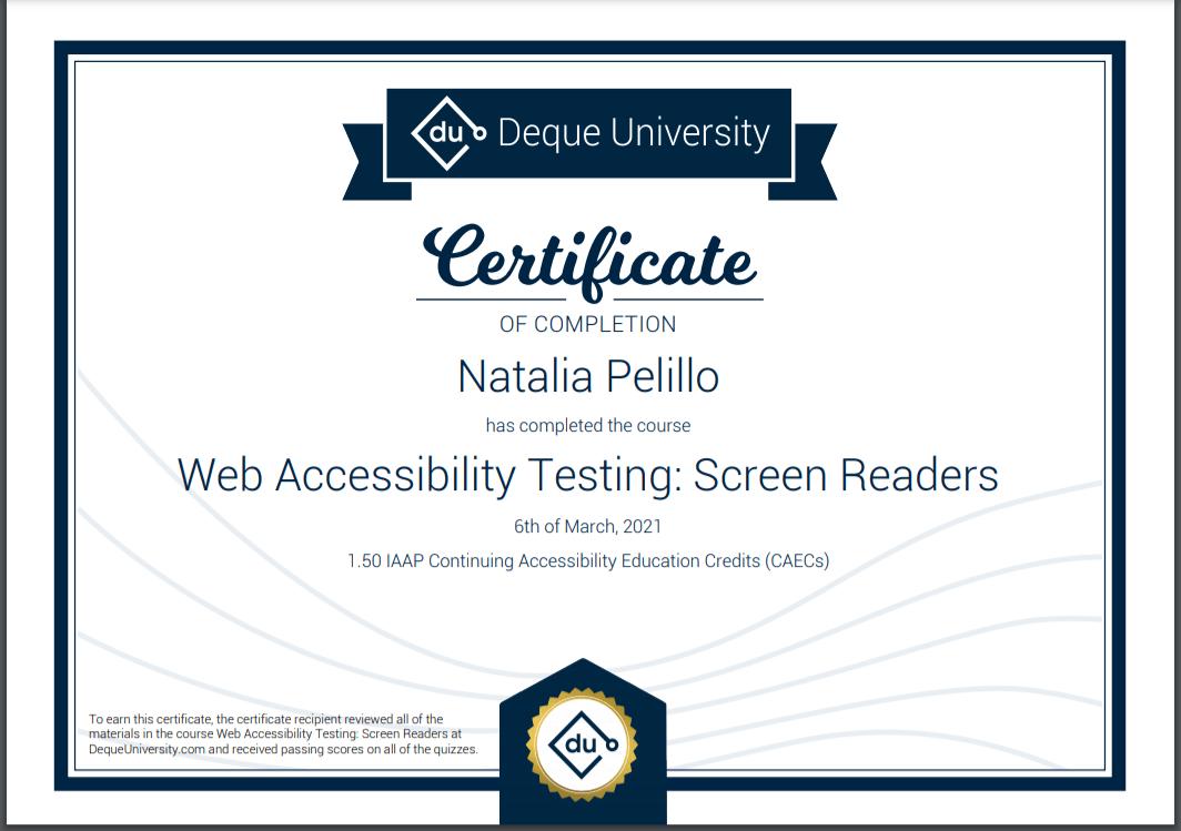 Certificado de curso Testing con lectores de pantalla