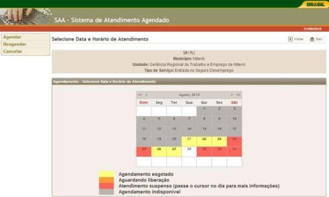 data e horario de agendamento seguro desemprego 2020