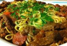 Receita de Alcatra Guisada com espaguete