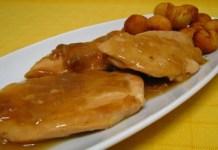 Receita de Bifes de Frango com Sopa de Cebola