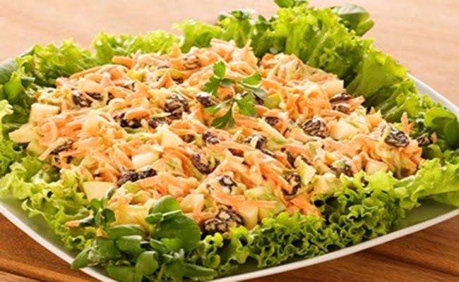 Receita de Salada de vegetais com uvas passas