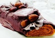 Receita de Tronco de Natal de Chocolate com Castanhas