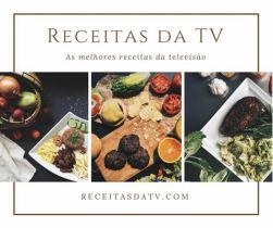 Logo Receitas da TV, tábua com carne e legumes