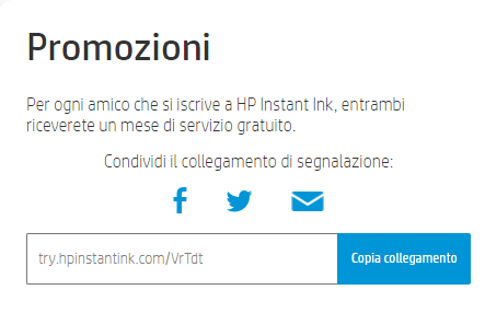 HP Instant Ink promozione