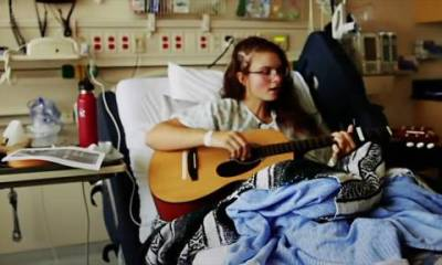 Kira Iaconetti, 19, performs after an operation to remove a tumour in an effort to help her return to singing.