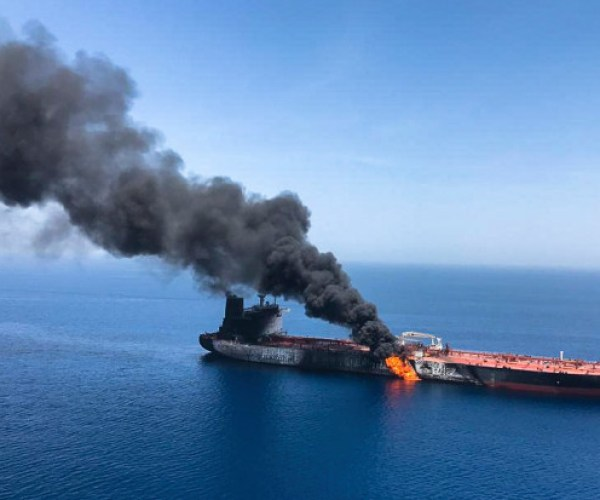 An aerial picture showing the huge blaze raging on the oil tanker after the attack this morning