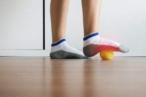 man wearing plantar fasciitis socks