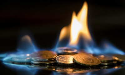 Picture of coins on fire