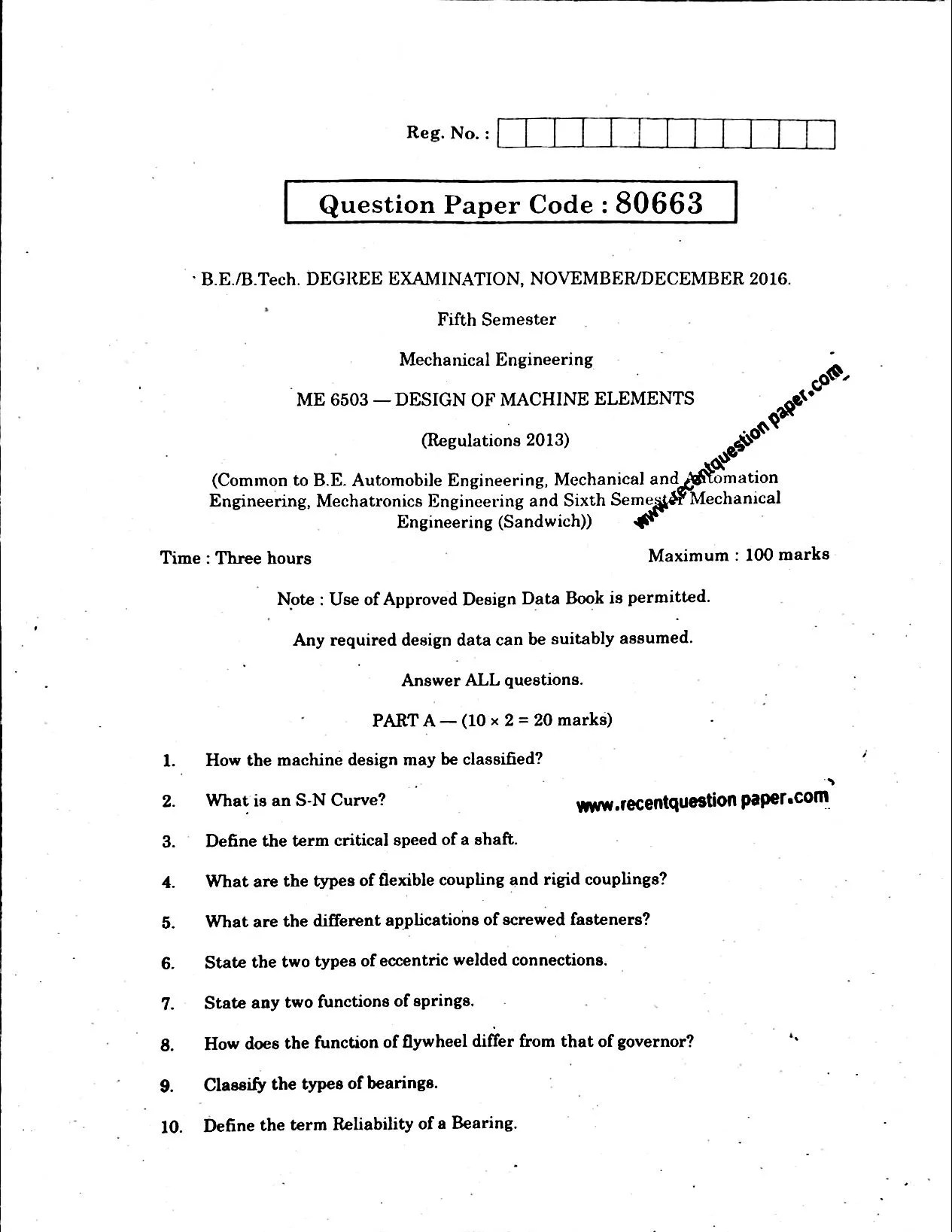 Anna University Design Of Machine Elements Important Questions