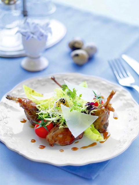 Весенний салат с перепелками