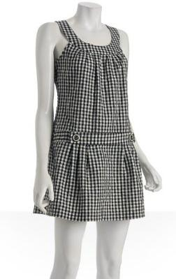 Parameter navy gingham belted sleeveless dress