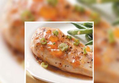 Pollo con albaricoque glaseado