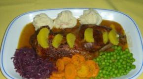 Pato con cuatro verduras