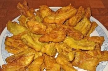 alcachofas rebozadas - Reciclaje de verduras o tempura de verduras