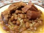 Judias pintas con arroz - Puré vegetariano de patata y puerro