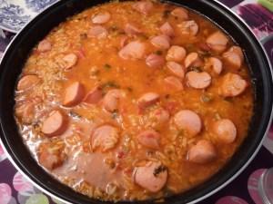 cataplana de arroz con salchichas - Arroz