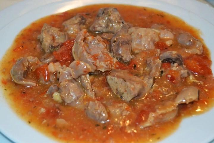 mollejas guisadas en salsa de tomate - Mollejas guisadas en salsa de tomate