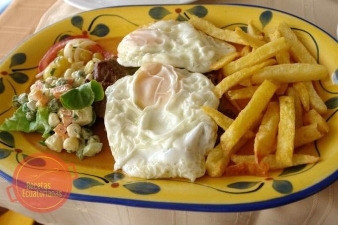 Receta ecuatoriana del churrasco de carne