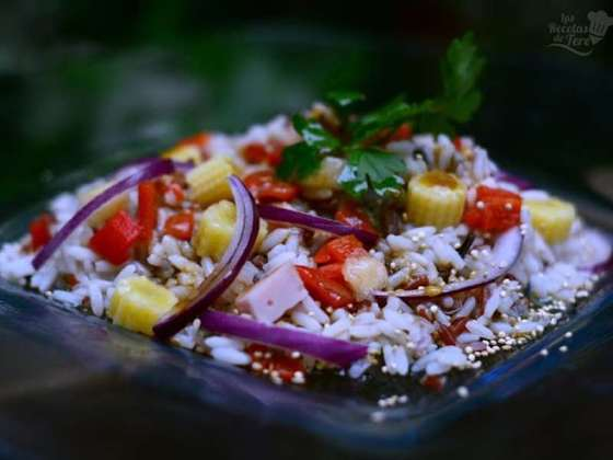 ensalada de arroz y pavo ahumado