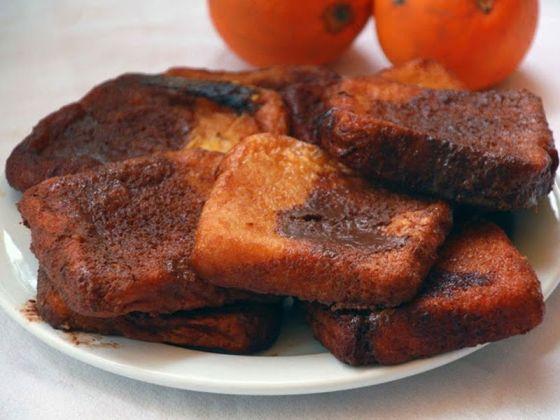 torrijas de chocolate y naranja