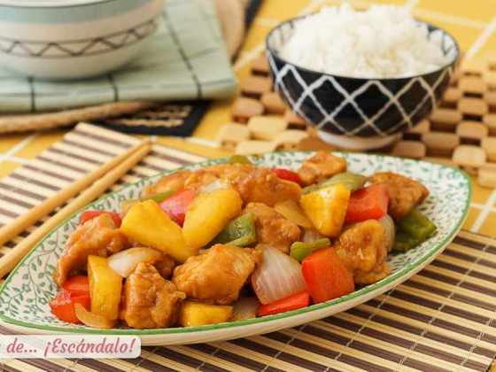 Pollo agridulce al estilo chino