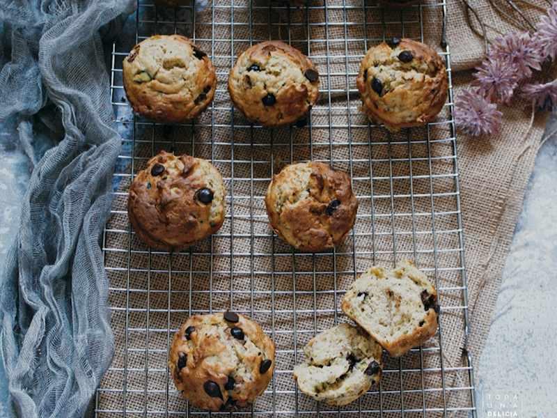 muffins de calabacin con chocolate